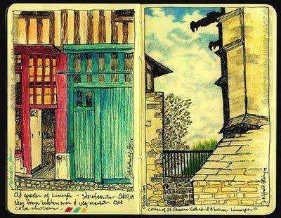 Moleskine drawings of Limoges, France (Judith Nijholt-Strong)