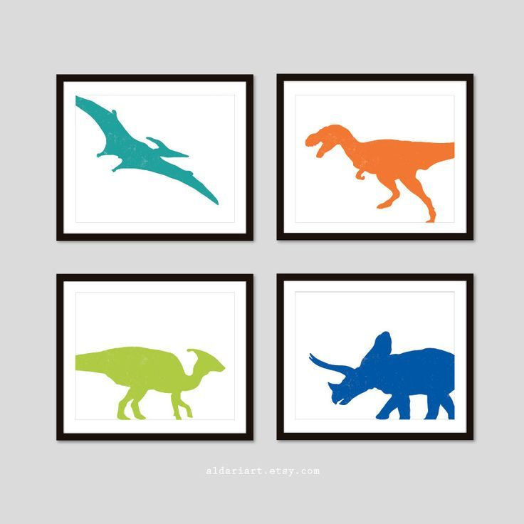 Dinosaur nursery decor set of 4 dinosaur prints boys nursery decor boy bedroom decor kids room art dinosaur posters CHOOSE YOUR COLORS #dinosaurnursery