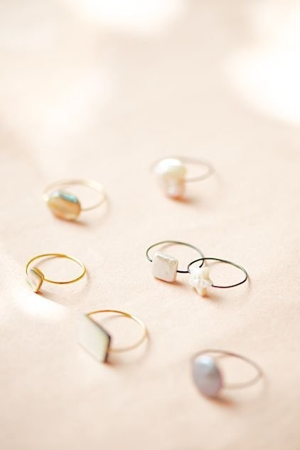 super cute wire and pearl bead rings with superglue. wire ring ...