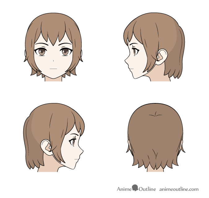 Drawing Medium Length Anime Hair Front Back And Side Views Anime Sketch Anime Drawings Anime