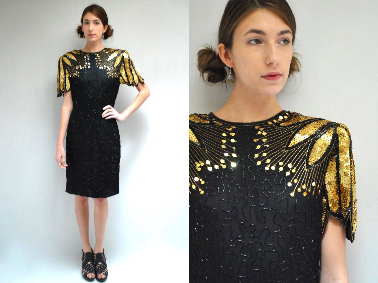 Black sequin dress silk beaded dress black gold dress open