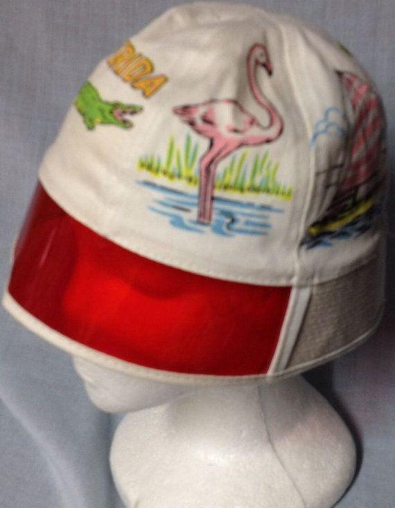 66f4f9e2ad7 Vintage M RARE Florida Souvenir bucket hat Sun visor 70 s Alligator Hard to  find sunglasses