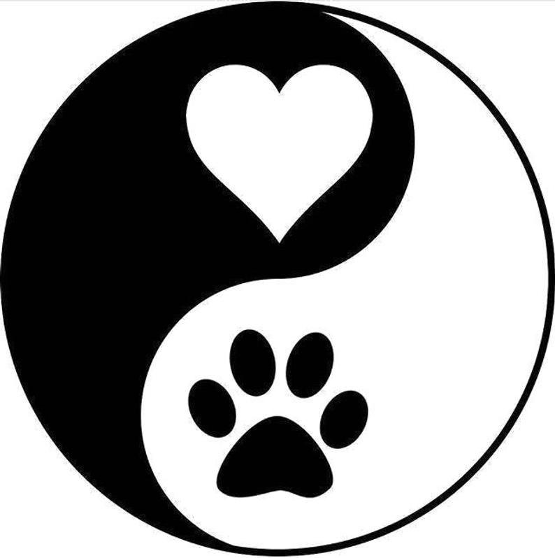 Yin Yang Dog paw heart SVG PNG JPG Cricut & Silhouette ...