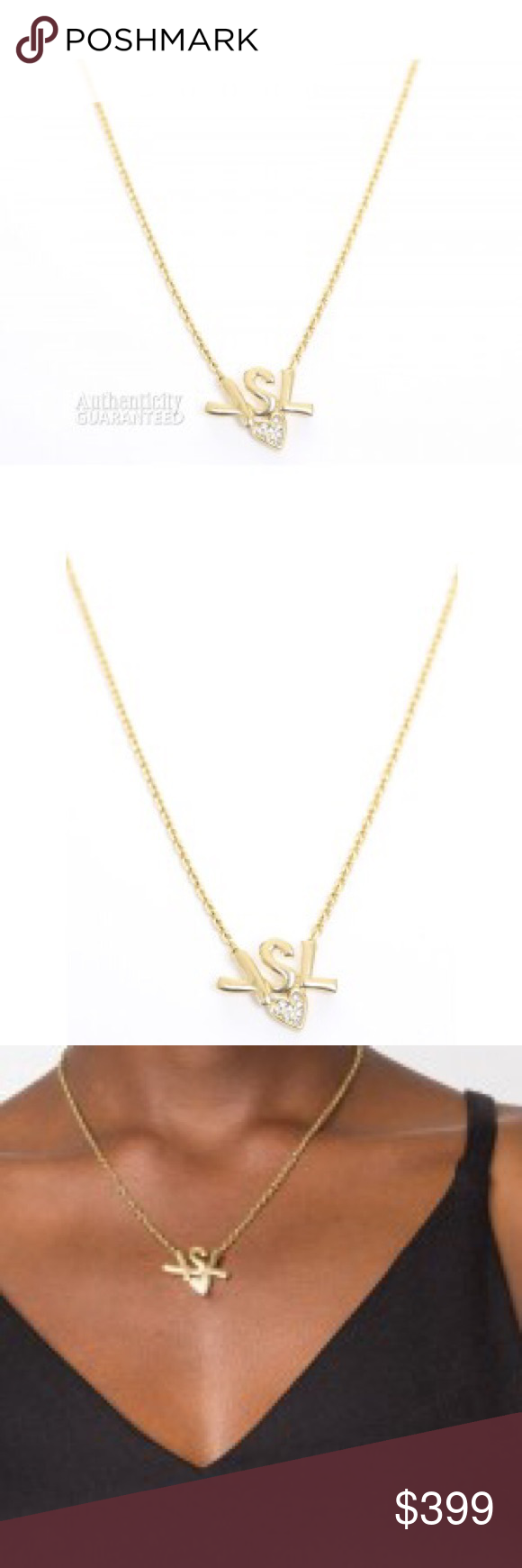 9b76396b5d4 Yves Saint Laurent Gold Logo Heart Necklace YSL Pendant Logo, Rhinestone  Heart Detail, Spring Clasp Closure, Gold Tone Hardware Yves Saint Laurent  Jewelry ...