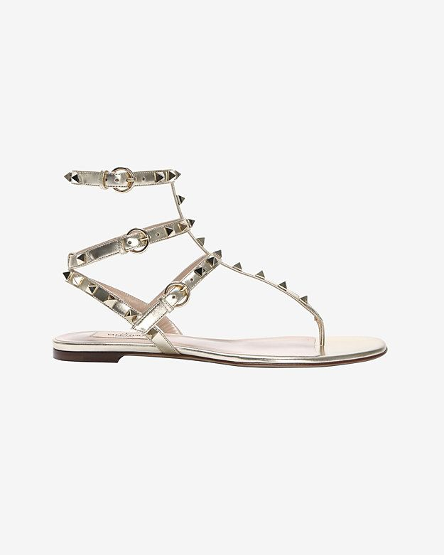 d55beddc0bf Valentino Rockstud Triple Strap Gladiator Flat Sandal  Silver