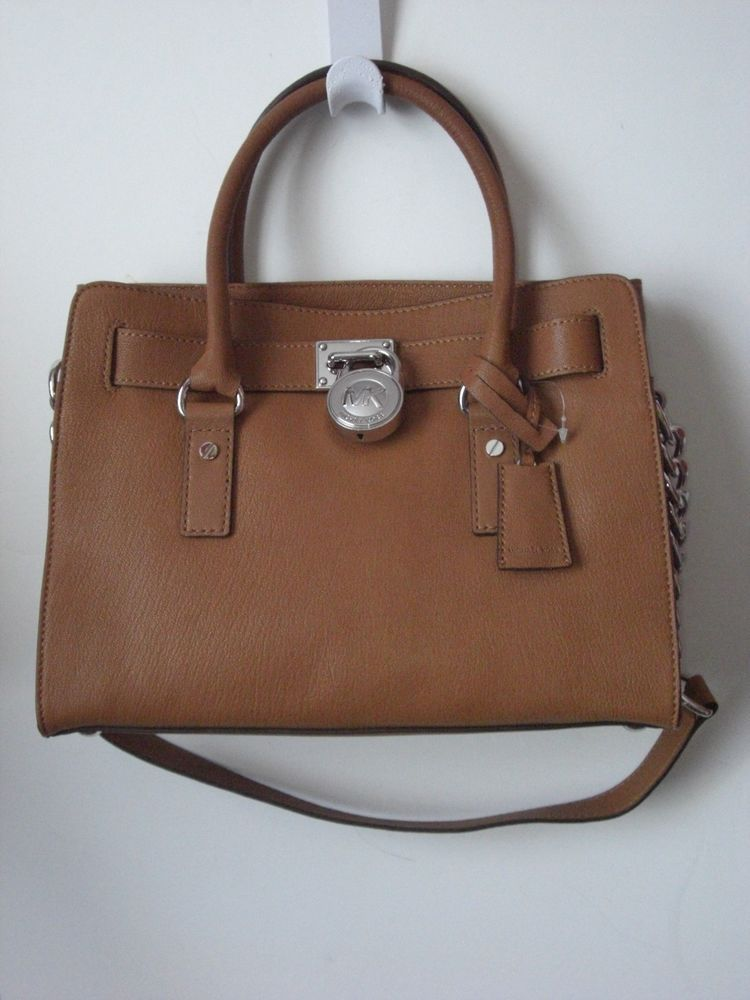 Michael Kors Hamilton Leather E W Satchel Luggage Brown Lock Handbag Nwt