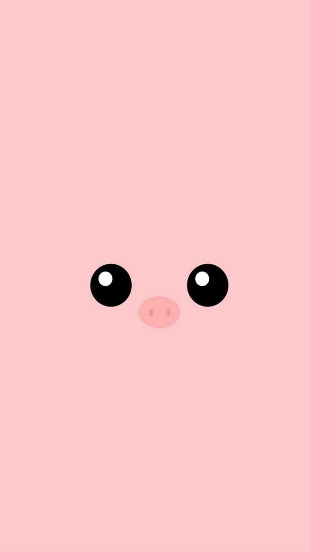 Minimal pink piggy cute eyes iphone 5s wallpaper for Fond ecran iphone 5s