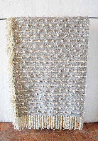 Palomita Hand Loomed Blanket in Grey