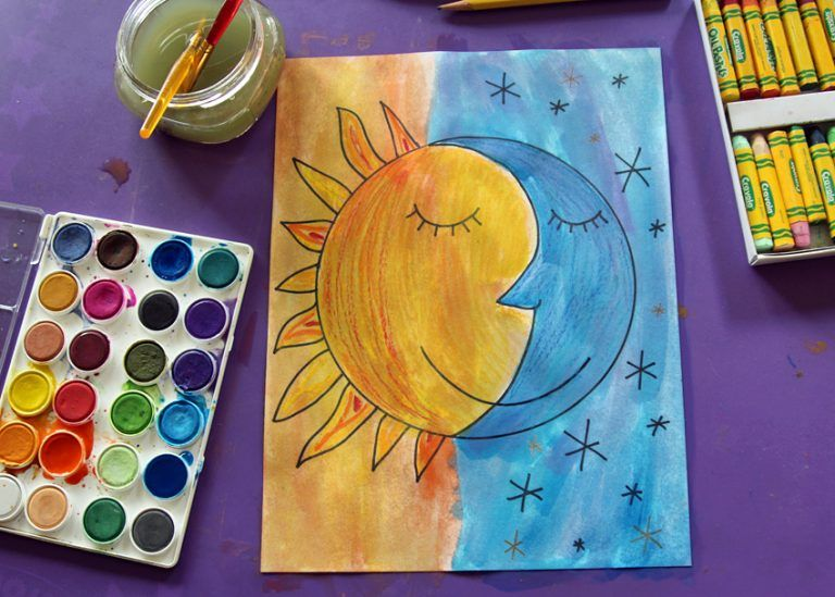 Sun And Moon Watercolor Project Watercolor Projects Kids