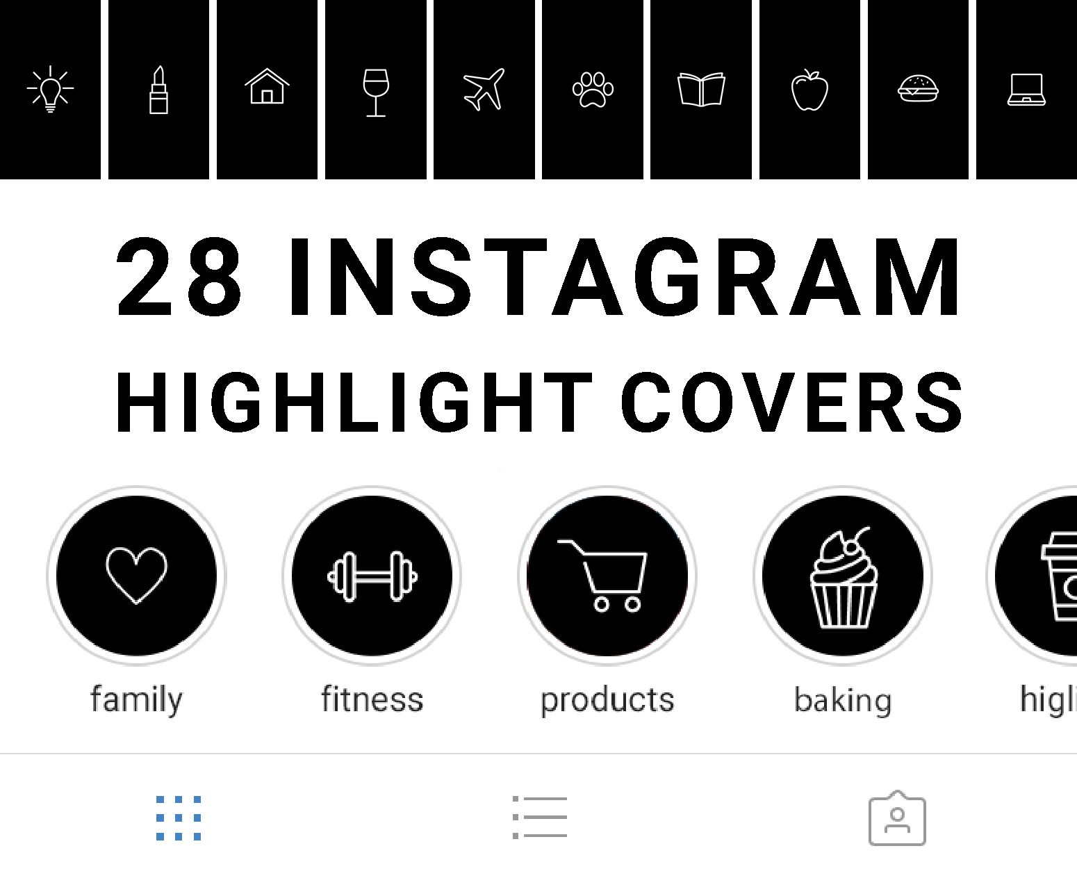 Pack of 28 Monochrome Instagram Story Highlight Icons