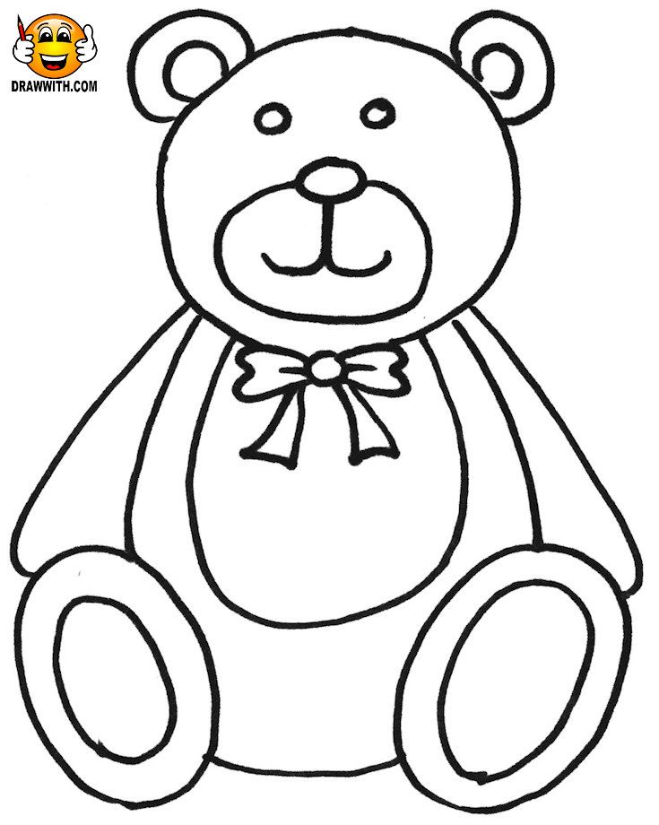 Free teddy bear coloring pages for kids which includes a color along ...