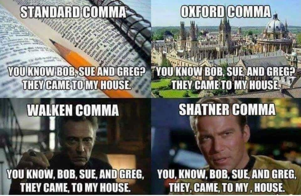 Pin by Irma Nuar on hee hee! Oxford comma, Shatner