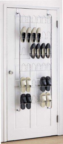 18 Pair Chrome Over The Door Hanging Shoe Rack Storage Organiser:  Amazon.co.uk: Kitchen U0026 Home