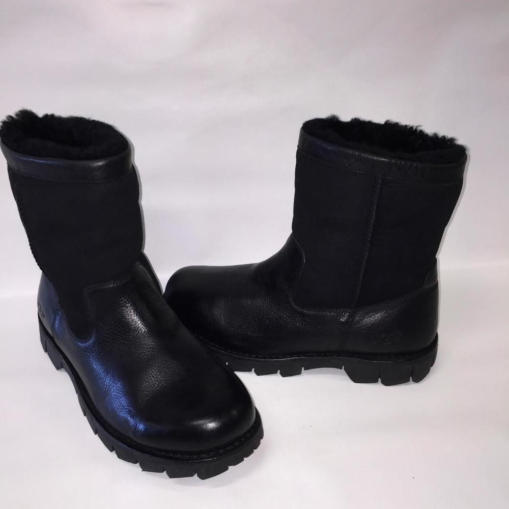 5f3b955dd77 UGG Australia MENS Sz 12 Beacon~5485 BLACK Leather/Sheepskin Boot ...