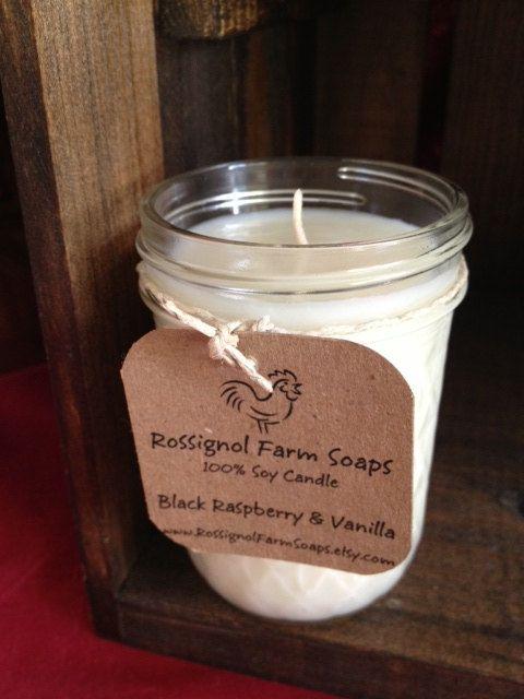 Black Raspberry & Vanilla Soy Candle in 8oz Jelly Jar