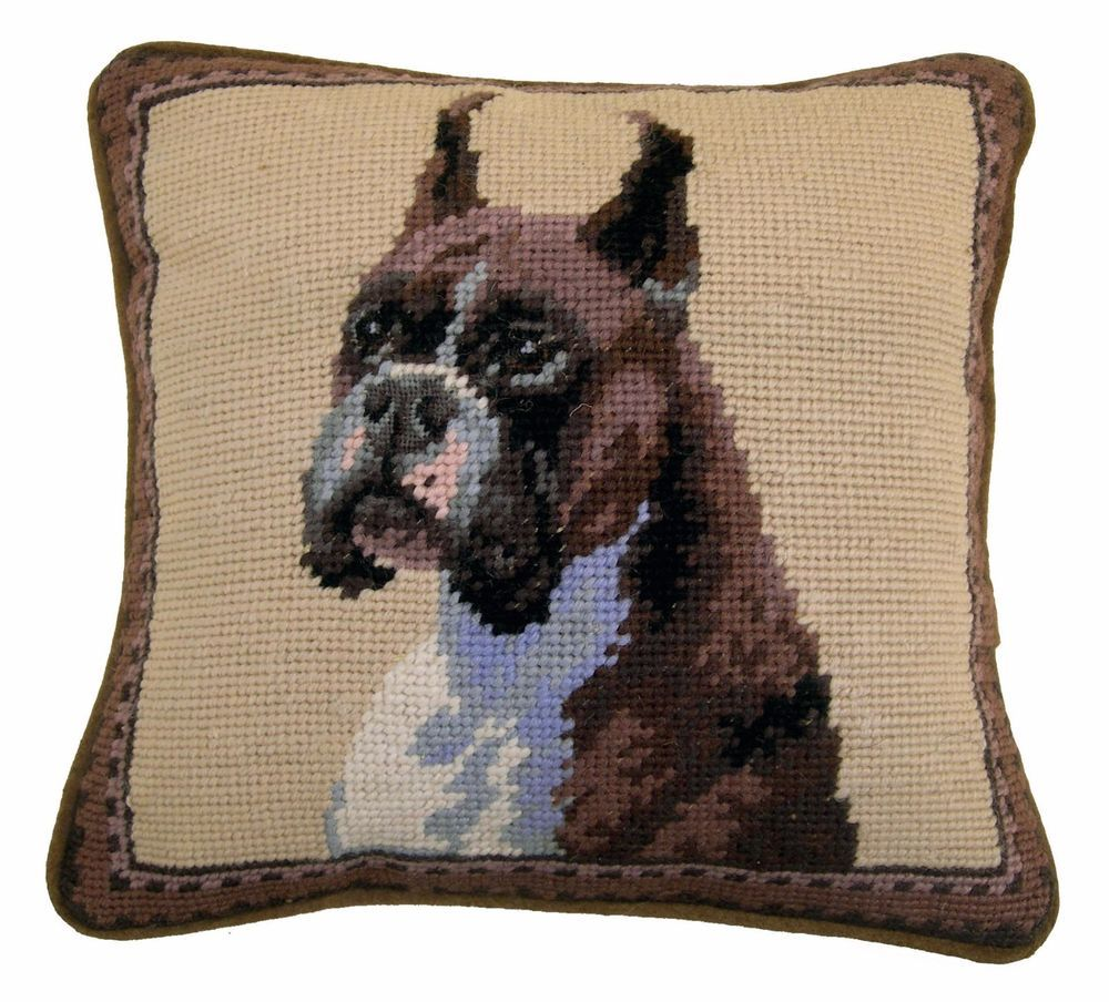 "Boxer Dog Needlepoint Pillow 10/""x10/"" NWT"