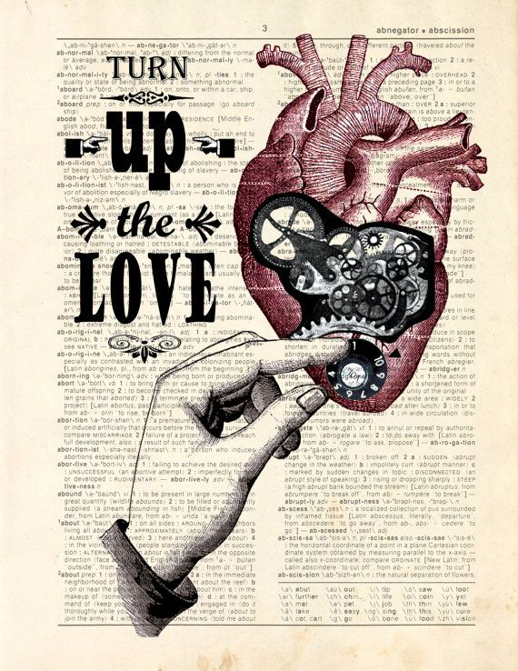 Dictionary Print Mechanical Heart Turn up the par ArtOfThePage, $10 ...