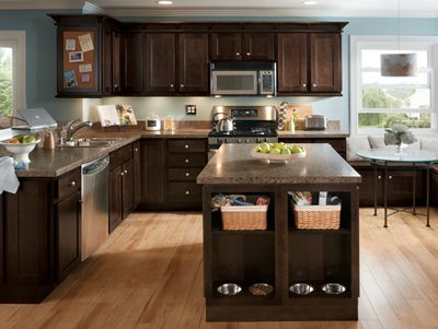 Kitchen Example Displaying The Armstrong Cabinet Style Newbury With The Espresso Finish Espresso Kitchen Cabinets Painting Oak Cabinets Kitchen Inspirations