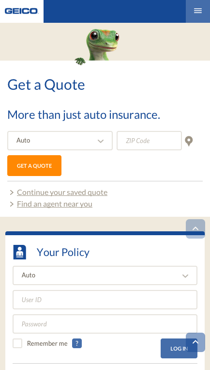 Geico Com Responsive Home Page Another Provider Early To