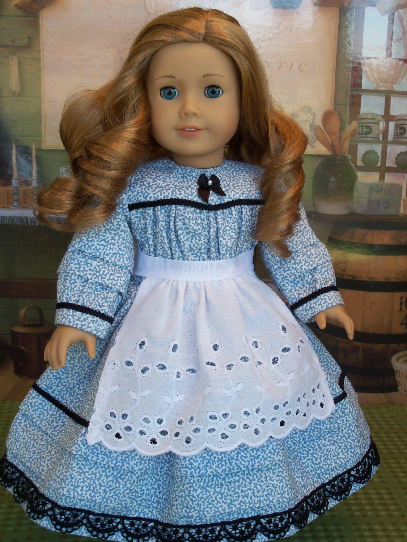 American Girl  Cecile/'s Beautiful Blue Satin  Dress Marie Grace,Kirsten New