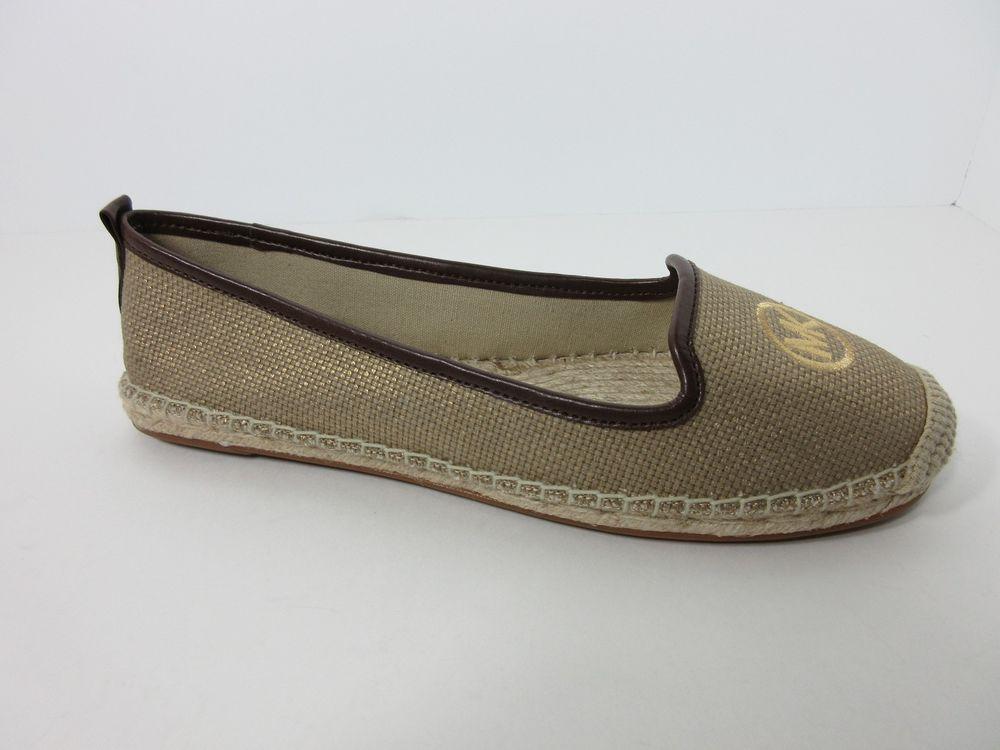 New Michael Kors Women's Keli Espadrille Metallic Fabric Flats Shoes Size 8.5 M #MichaelKors #Espadrilles #Casual