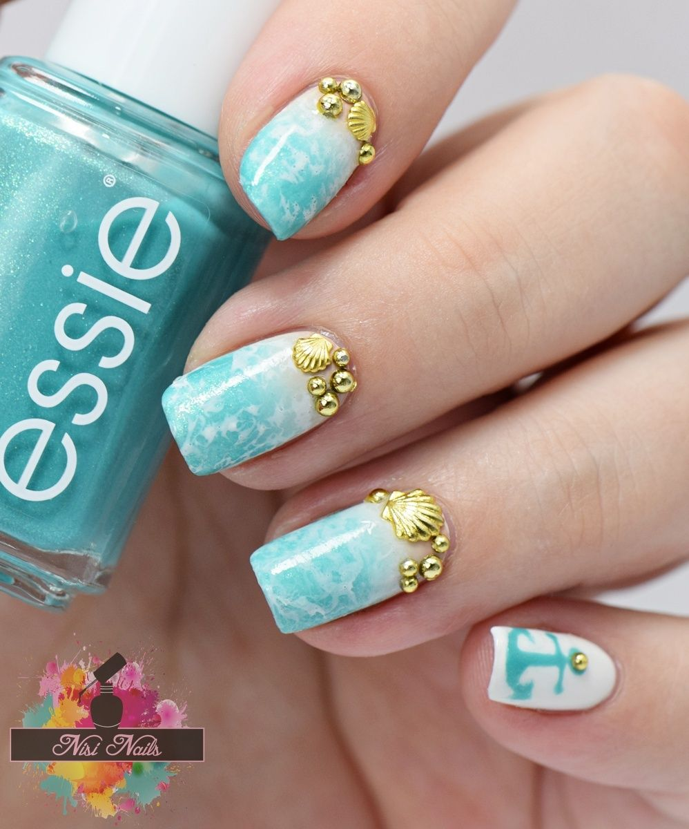 Beach Nails / Water Spotted Nails / Sommernägel / Sommer Nageldesign ...