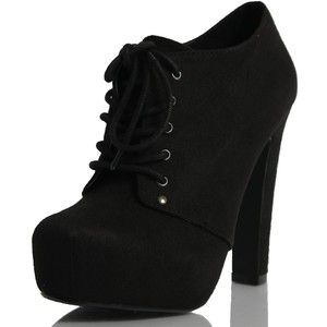 soda black faux suede lace up platform high heel ankle boots black ...