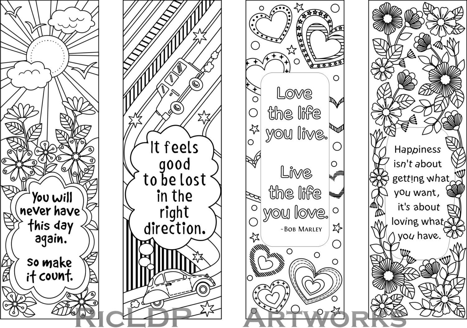 Set of 4 Coloring Bookmarks with Quotes, Bookmark Templates with ...