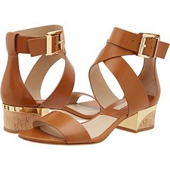 Michael Kors Michael Kors Tulia (Luggage Smooth CalfCork) Womens 12 inch  heel Shoes for at Im in!