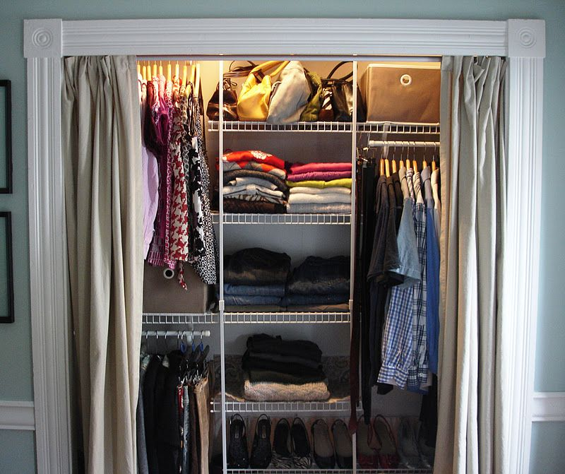 Replace (sliding) Closet Doors With Curtains. Love The Molding Frame Idea.