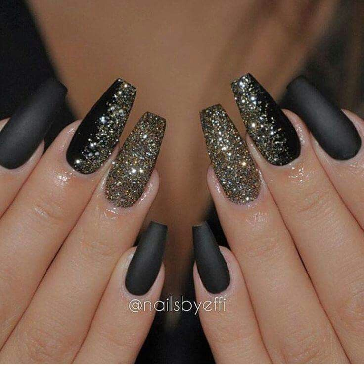 Black And Glitter Nails