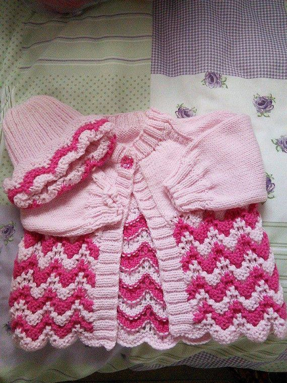 970cba065c3f 0-3mths cardigan and hat hand knitted pink and by Justbabydelights ...