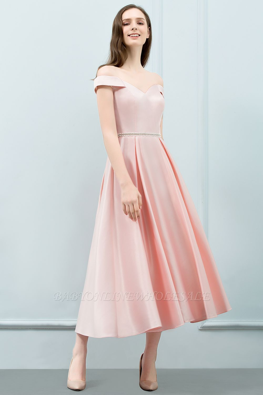 759d36670d SHEILA | A-line Off-shoulder Tea Length Pink Prom Dresses with Sash |  www.babyonlinewholesale.com