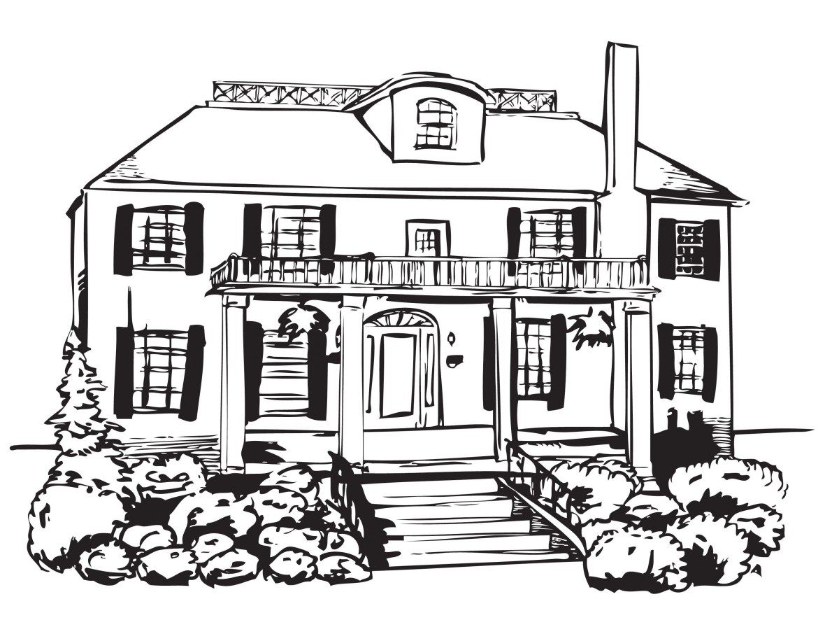 Haunted House Coloring Pages Coloring Page Big Haunted House