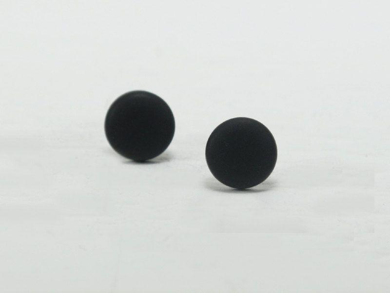 Black Stud Earrings - Black Studs - Matte Black Earrings ...