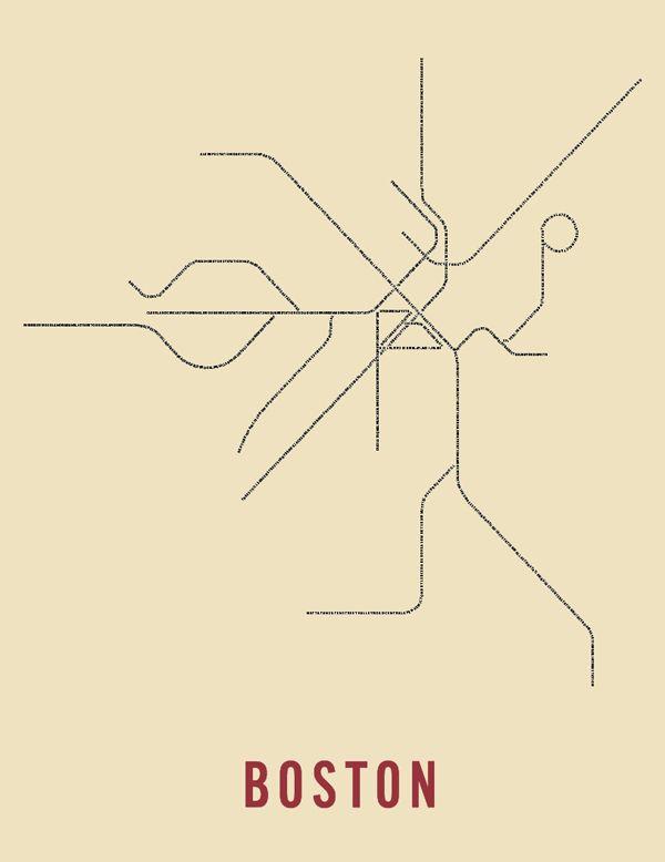 Subway Map Art Boston.Wanted Typographic Transit Maps Maps Boston Map Boston Subway Map