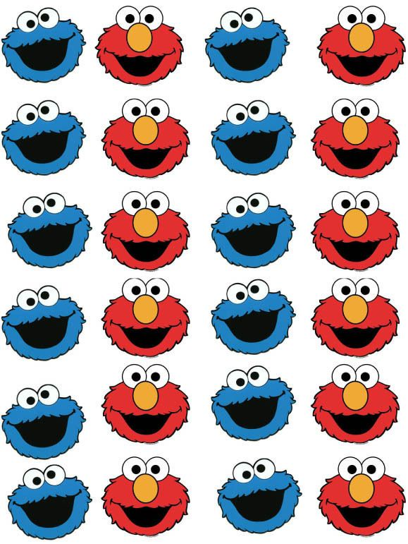 Elmo and Cookie Monster Cupcake Fairy Cake Wafer Paper Toppers