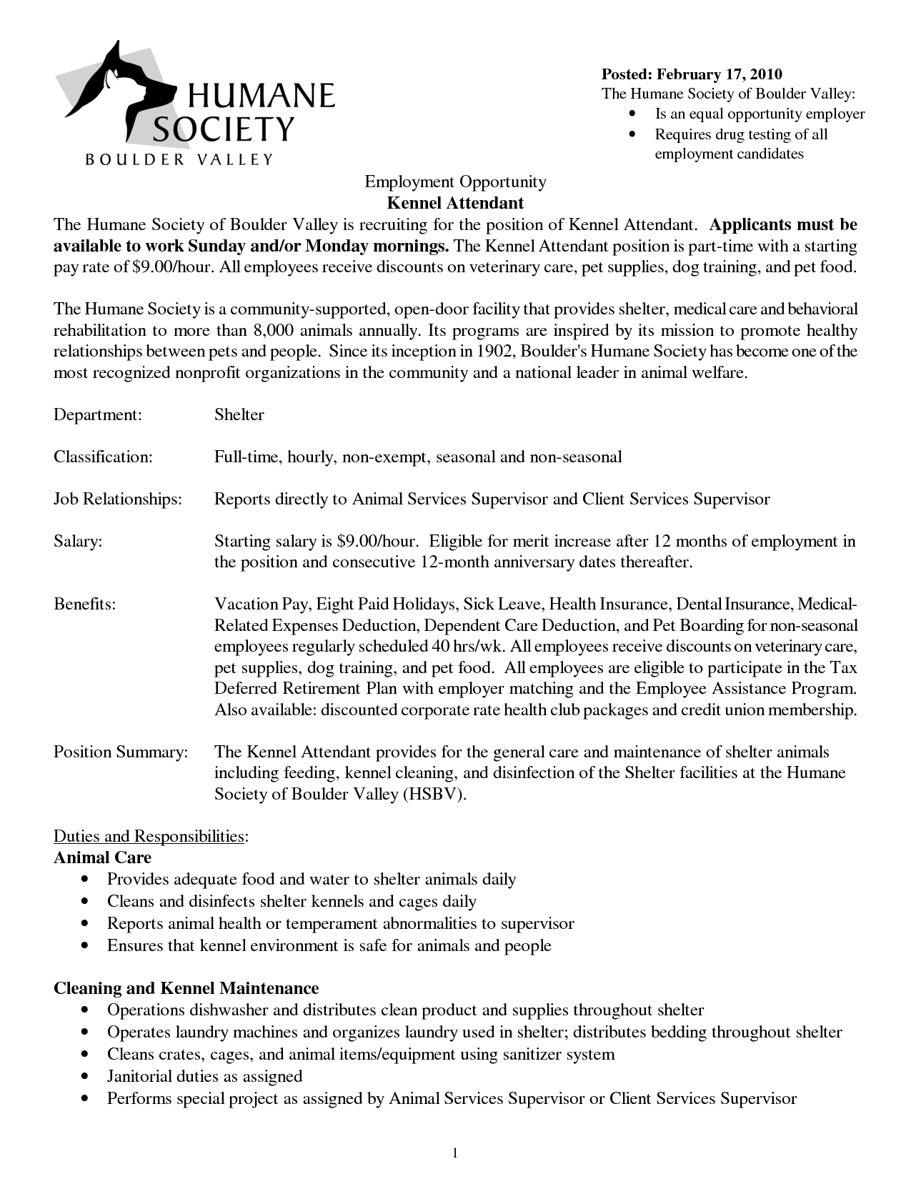 Kennel Technician Resume Cover Letter Want Additional Info For Animal Care