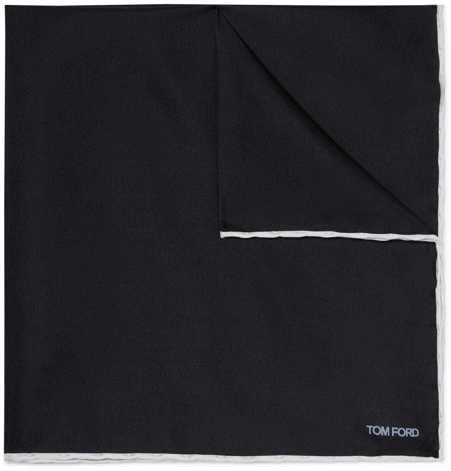 TOM FORD - Contrast-Tipped Silk-Twill Pocket Square - Men - Blue #pocketsquares