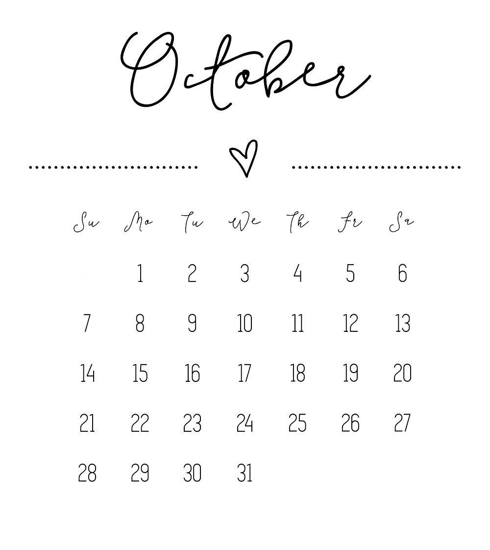 October 2018 Calendar Printable Template USA UK Canada (с