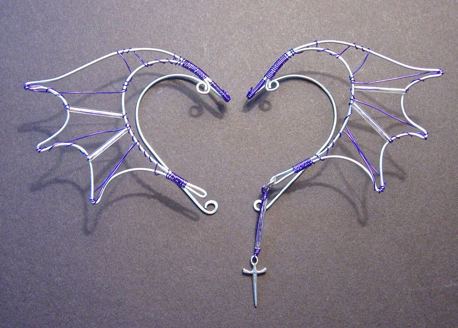 Pair of Dragon Wing Elf Ear Wraps with Purple wire and a ... - photo#26