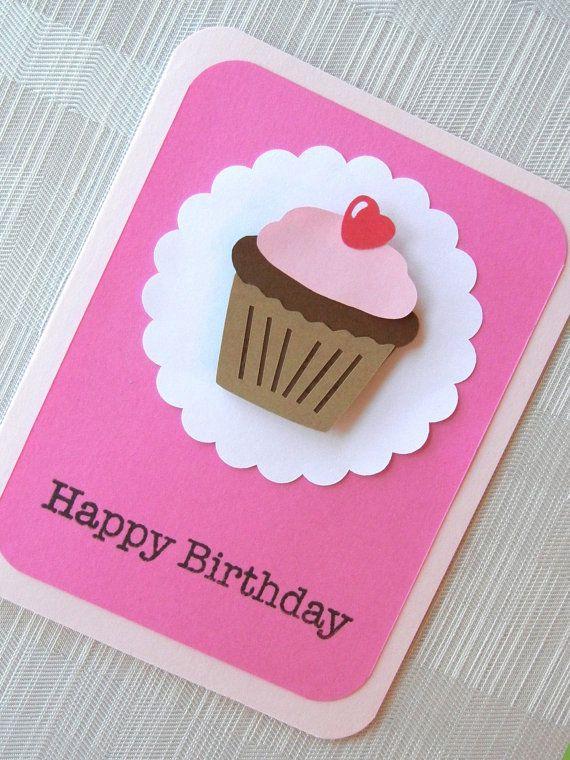 Birthday Card Happy Birthday Kids Birthday Card Handmade – Cupcake Birthday Card