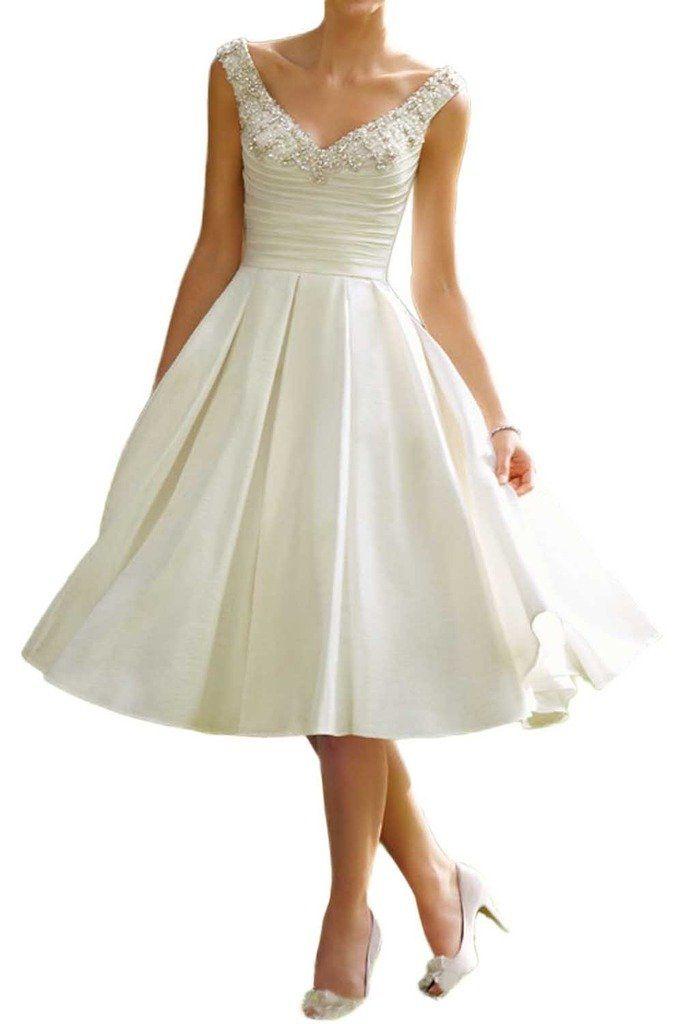 Milano Bride Vintag Elfenbein V-ausschnitt Hochzeitskleider ...