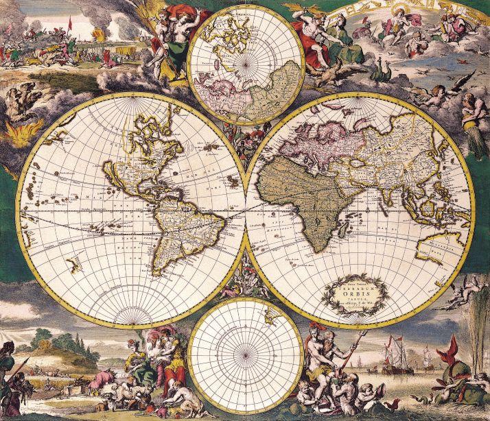 Antique Maps of the WorldDouble Hemisphere Polar MapFrederick De - new antique world map images