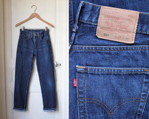 levis 501 jean bleu brut taille haute bleu stone ann es 90. Black Bedroom Furniture Sets. Home Design Ideas