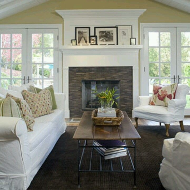 Living Room With Fireplace And Windows love this fireplace with windows on each side. | fireplace