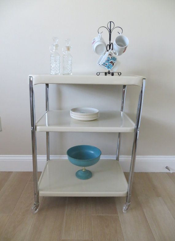 Vintage Mid Century Cosco Utility Cart Three Tier Rolling Metal Serving Bar Cart Chrome Enamel