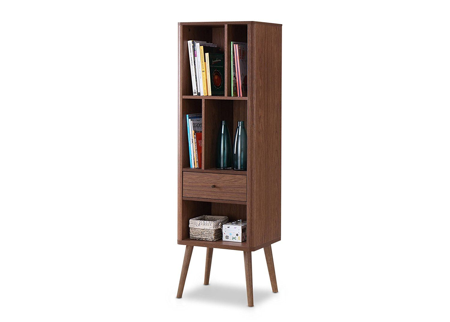 Amazon Baxton Furniture Studios Ellingham Mid Century Retro Modern Cabinet Bookcase Organizer
