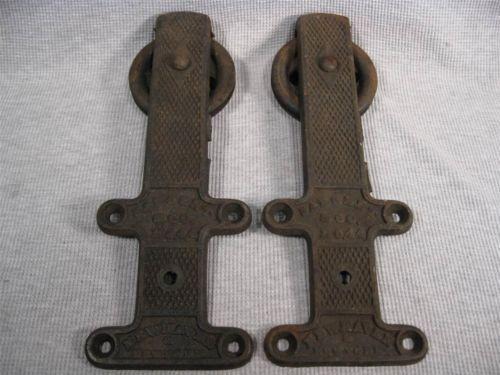 2 Antique Sargent Co. No. 44 Cast Iron Barn Door Rollers