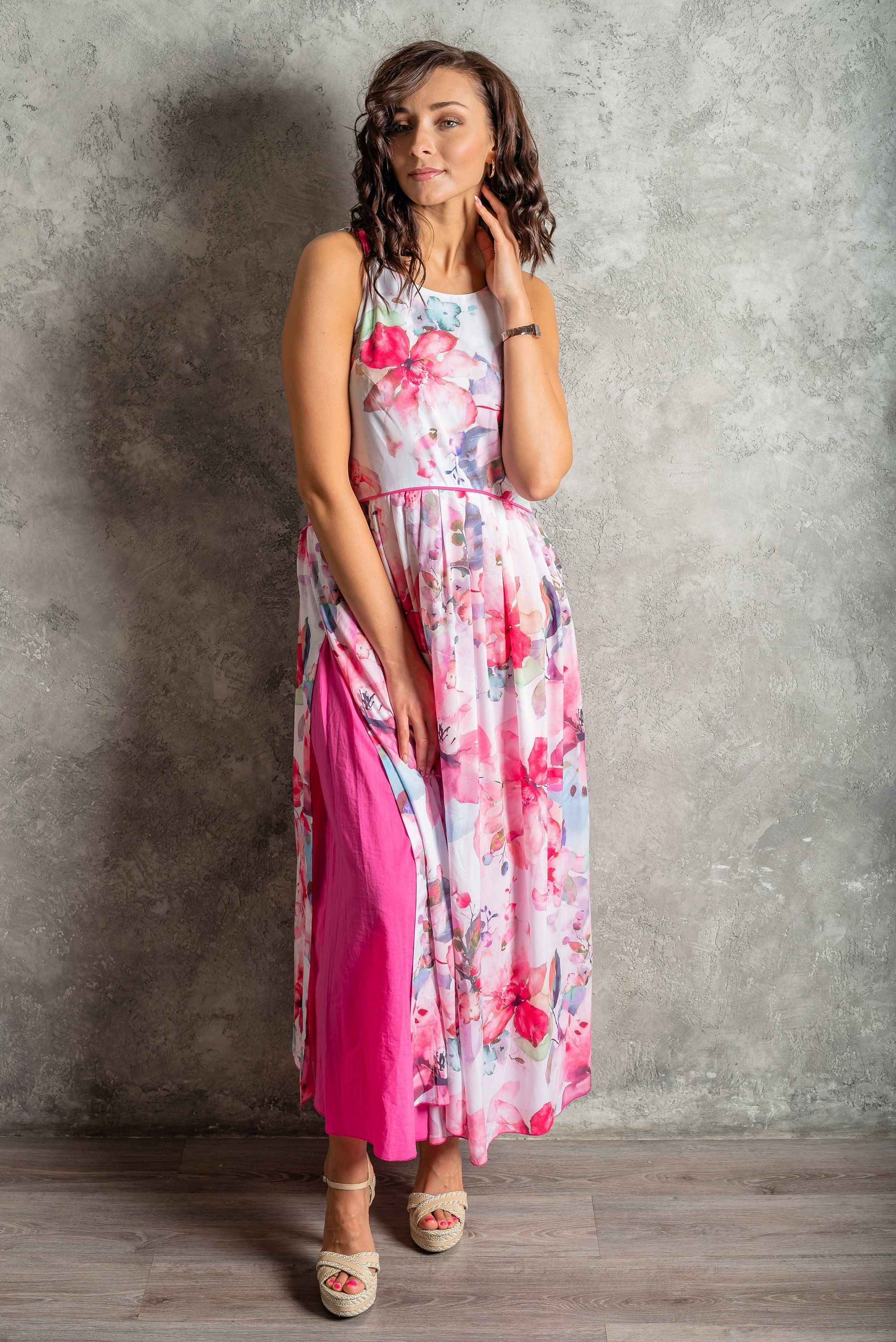 287a814373a6 Flirty summer dress, elegant party's cotton floral print S/M size in ...